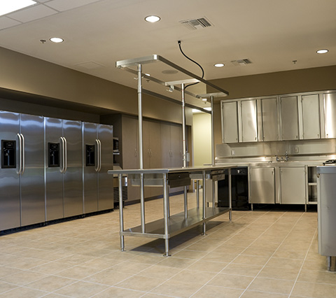 Kitchen at a Houston Restaurant with tile floors
